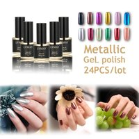 Wholesale Glue Metallic Nails - Wholesale-24PCS lot New European and American fashion metallic nail polish 12 colors UV gel lacquer High quality vernis nail glue