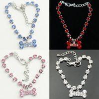 Wholesale Diamante Bone - New 2015 Crystal Diamante Bone Rhinestone Pendant Pet Necklace Collar Dog