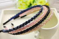 Wholesale modern hair accessories - 2016 NEW ARRIVAL !Shining Crystal Fashional Modern Style Headband Hairbands for Girls Headwear 2 rows beads width Hair Accessories for Women