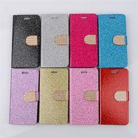 galaxy s6 bling wallets fall großhandel-Schimmerndes Puder Bling Diamant Glitte Mappen-PU-Leder-Schlag-Kasten-Standplatz für iPhone 5 6 plus Rand-Anmerkung 2 3 4 der Samsung-Galaxie S3 S4 S5 S6