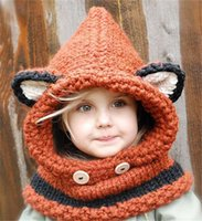 Wholesale Crochet Designs For Kids - Fox design winter beanies windproof hats and scarf set for kids children crochet headgear soft warm hats 3 design free shipping