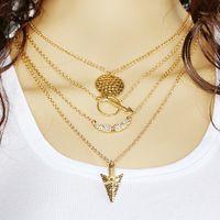 Wholesale Silver Char - Necklaces Pendant Women Men Punk Jewelry Silver Rose Gold Unique Modern Dainty Arrow Char Gold Charms Plated Chain Long Pendant Necklaces