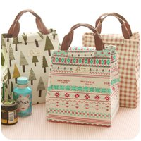 Wholesale Thermal Insulated Pouch - Lady Lunch Handbag Food Storage Bag Picnic Bento Pouch Handbags Thermal Insulated Portable Storage Box Outdoor Picnic HandBag Cotton Linen