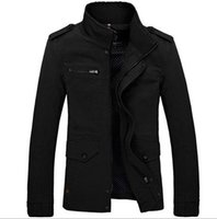 Wholesale Coat Army Fashion For Men - Fall-2015 Men Medium Long Jacket Autumn Hot Fashion Korean Jackets For Men Casual Coat Lapel Large Size M-4XL, Black Khaki;Green