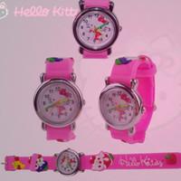 Wholesale 3d Cartoon Watches For Kids - New Cool 3D Pattern Pink Kitty Cartoon Watch For Children Kids Girls Quartz Wrist Watch