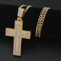 ingrosso croce di cristallo in acciaio inossidabile-5mm 30 pollici in acciaio inox catena cubana Hip Hop cristallo collana pendente croce ghiacciato gioielli Bling N607