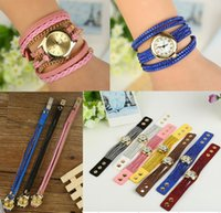Wholesale braided wrap watch - 2015 New Style Fashion Women Wrap Wristwatch Creative Braid Chains Rhinestones Snap Eco-Friendly PU Leather Watch Bracelets 2 Styles