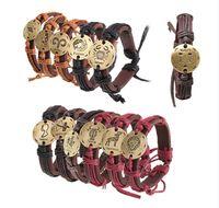 bracelets zodiac zodiac achat en gros de-Europe et la chaîne de mode unie États 12 ficelle de zodiac couple tissage bracelet à la main en cuir véritable petit bijoux