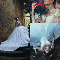 Wholesale Kaftan Bridal Dresses - Kaftan Dubai Arabic Muslim Wedding Dresses Ball Gown Sheer Neck Long Sleeve Wedding Dresses Lace Chapel Train Bridal Dresses 2015