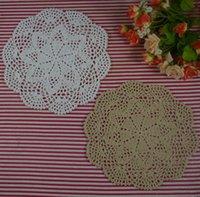 handgefertigte häkeltücher groihandel-handgemachte gehäkelte Deckchen Vintage Blume, Spitze häkeln Deckchen Tasse Matte Vase Matte Coaster 25cm / 10