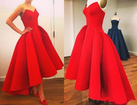 Wholesale Unique Formal Gown Long - 2015 custom made Vintage Hi-Lo prom dresses with sweetheart neck tea length Puffy Skirt unique red evening gowns formal party prom dresses