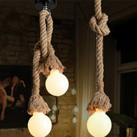 Wholesale Brown Kitchens - Retro Rope Hanging Lamps Loft Vintage Pendant Lamp Restaurant Bedroom Diningroom Pendant Lamp Hand Knitted Hemp Rope Lights