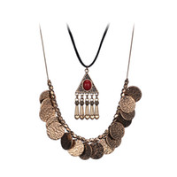 Wholesale Double Ended Charms - Tassel Coin Pendant Necklace For Womens European and American High-End Jewelry Long Section Double Alloy Sweater Chain