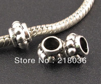 Wholesale Pandora Spacers - HOT Wholesale 100pcs Tibetan Silver Big Hole Spacer Beads Fit Charm Pandora Bracelet A242 DIY Metal Jewelry Findings Accessories