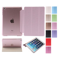 Wholesale Crystal Color Dust - For Ipad mini mini2 mini3 mini4 Air Air2 3 4 5 6 Ultra Thin Smart Magnetic Foilo cover Flip stand Hard Clear Crystal Back case 1pcs