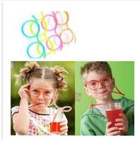дети забавные соломинки оптовых-2014 дурацкий весело глупые соломинки Популярные очки соломинки для питья Kid Party пользу творческий Рождественский подарок 200 шт./лот Бесплатная доставка