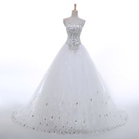Wholesale Korean Princess Photo - Real Sample Luxury Sexy Sweetheart Crystal Tulle New Korean Bling Corset Princess 2015 Wedding Dresses Pictures Fashion Bridal Ball Gowns
