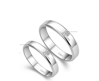 Wholesale Various Bands - 1PCS Fashion Women Men Platinum Plate Luck Clover Couple Band Love Ring at various sizes #91941