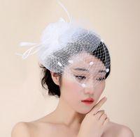 Wholesale Wedding Elegant Headdresses - Bride headdress hair lady hat elegant mesh &Lace wedding Creative Design hat female hat slap-up party hat bride headdress free shipping HT25