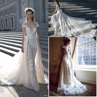 Wholesale simple wedding dresses illusion neckline for sale - 2018 Spring New Over Skirts A line Lace Wedding Dresses Sheer Crew Neckline Illusion Bodice Appliques Bridal Gown Short Sleeves BA0265