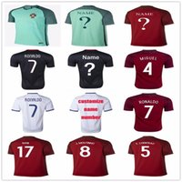 Wholesale Cheap Red Football Jerseys - Cheap Football Shirt Portugal 7 Cristiano Ronaldo Jersey 8 SILVA 8 J.MOUTINHO 17 NANI F.COENTRAO MIGUEL CARVALHO Home Away Soccer Jerseys