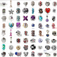 Wholesale Big Hole Crystal Rhinestone Beads - Fashion 925 Silver Mix European Big Hole Loose Beads Crystal Rhinestone for Snake safety chain Fit DIY Charm Bracelet Jewelry