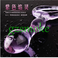 Wholesale Glass Vibrators Anal - Purple Crystal penis Glass Dildos Beads Anal Sex Toys for women men Sex Products adult toy g spot vibrator butt plug massager