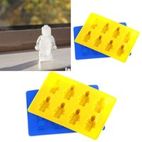 Wholesale Unique Ice Trays - New Arrive Unique DIY Ice Cube Tray Chocolate Ice Mold Maker Bar Party Drink Lego Man Style