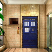 Wholesale Door Paper - New Doctor Who Wall Decal Blue TARDIS Fathead-Style Door Sticker Graphic Unique Mural Cosplay Gifts 4 Sizes