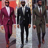traje a medida hombres tweed al por mayor-2018 Black Burgundy Groom Man Suit Trajes de boda por encargo para hombres Mens Traje de rayas Wedding Novio Smoking Suit Wedding Tuxedo (chaqueta + pantalón)