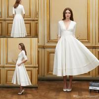 Wholesale Elastic Princess Dress - 2017 Short Beach Wedding Dresses Delphine Manivet A Line Sexy Deep V Neck 1 2 Sleeves Natural Waist Zipper Tea Length Bride Dress