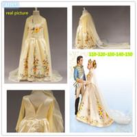 Wholesale princess cinderella costumes online - 2015 cinderella dress children cinderella wedding dress kids Golden Wedding dress costume cosplay princess