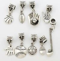 esferas de metal venda por atacado-100 pçs / lote Esporte Bola de Metal Charme Big Hole Beads Antique Prata 9 Estilos Fit Charme Europeu Pulseiras Jóias DIY