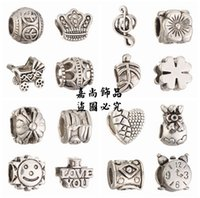 Wholesale Big Pendent - Big Hole Loose Beads Mix 16 Style DIY charm For Pandora Jewelry Pendent For European Bracelet Necklace Christmas Gift-B27