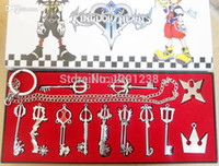 Wholesale Plastic Heart Pendant Necklace - Wholesale-12pcs Set Kingdom Hearts II KEY BLADE Necklace Pendant+Keyblade+Keychain Different Style Silver Key Blade Sora Keyblade Pendant
