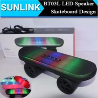 Wholesale Car Audio Led Lights - BT03L Skateboard Bluetooth Mini Speaker with LED Stereo Audio Sound Light Portable Wireless Subwoofer Car Handsfree MIC FM Music Player Box