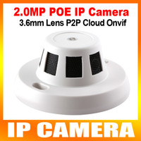 Wholesale Ip Cameras Wired - 1080P 2.0MP HD Smoke Detector Style IP Camera With POE Mini Hidden Web indoor Dome Camera Support iPhone Android Phone Browse Onvif P2P