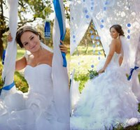 Wholesale up skirt photos - Hot Sales Organza Mermaid Wedding Dresses 2016 White Sexy Sweetheart Ruffles Tiers Lace-up Back Court Train Wedding Gowns Custom Made Robe