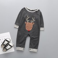 Wholesale baby xmas costumes - Xmas Christmas Deer Romper Baby Boy Clothing 2017 New Autumn Newborn Infant Long Sleeve Letter Cotton Jumpsuit Costume Toddler One Clothes