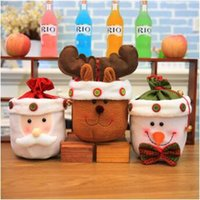 Wholesale Snowman Bells - Newest Christmas Candy Bags Gift Bag With Bell Cute Santa Claus Snowman Elk Bag for Appple Candy Bags Party Supplies CCA8093 50pcs