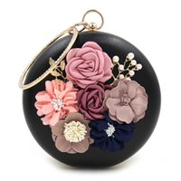 Round Design Flor Rhinestones Mulher Evening Bags Pu Leather Moda Lady Handle Cadeia Bolsa de ombro Dia Clutches Bolsas