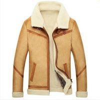 Wholesale Men Winter Camel Coat - Fall-2015 New Men Suede Leather Jackets Winter Fur Coats Size M-4XL Vintage Camel   Coffee Man Wool Outerwear Warm Fleece Lining