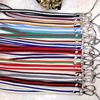 Wholesale Long Hanging Lights - Mobile Phone Hang Rope Metal Lobster Hook Nylon Neck Straps Long Section Stripe Lanyard High Quality 1 15mc B