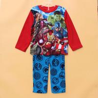 Wholesale Boys Pyjamas - Wholesale-2015 New 4-10yrs boy boys Avengers Long Sleeve Cartoon Winter Fleece top+ pants pyjamas pajama sets sleepwear Pjs 6set lot