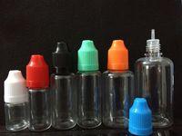 şeffaf plastik şişe kapakları toptan satış-Renkli Çocukların Açamayacağı Kapaklar ile 500 adet E Sıvı PET Damlalık Şişe Uzun İnce İpuçları Şeffaf Plastik İğne Bottlesl 5ml 10ml 15ml 20ml 30ml 50ml