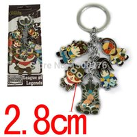 Wholesale Lol Garen Toys - 2styles LOL metal pendant figures Cartoon game Teemo Garen Ezreal alloy keychain accessories colorful fashion toy keyring