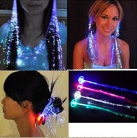 Wholesale Multicolor Hair Extensions - Retail 15pcs lot Multicolor LED Flash Light Optical Fibers Braids Luminous Hair Bars Party Birthdays KTV Concerts Hair Creative Accessorie