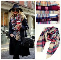 Wholesale Green Colored Scarf - Top Lady Blanket Bulk Scarf Tartan Grid Plaid Scarves Christmas Party Cozy Wrap Shawl Multi-Colored For Women Ladies Blogger Favorite