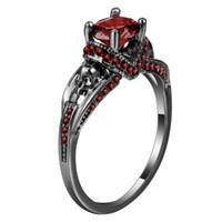 086bafa00fc8f Anillo negro rosa rojo lleno de granate boda nupcial conjunto de compromiso  de piedras preciosas 925 anillo de plata tamaño 6 7 8 9 10 SAT20170025