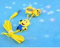 Wholesale Despicable Headphones - Wholesale-Free shipping New cartoon in-ear wired 3.5mm earphone headphones Despicable Me Minions model headset for MP3 MP4 cell phone